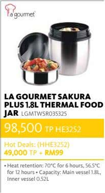 LA GOURMET SAKURA PLUS 1.8L THERMAL FOOD JAR LGMTWSR035325 98,500 TP HE3252 Hot Deals: (HHE3252)
