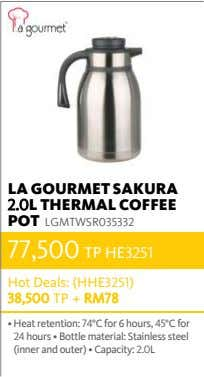 LA GOURMET SAKURA 2.0L THERMAL COFFEE POT LGMTWSR035332 77,500 TP HE3251 Hot Deals: (HHE3251) 38,500