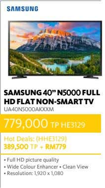 "SAMSUNG 40"" N5000 FULL HD FLAT NON-SMART TV UA40N5000AKXXM 779,000 TP HE3129 Hot Deals: (HHE3129)"