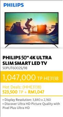 "PHILIPS 50"" 4K ULTRA SLIM SMART LED TV 50PUT6002S/98 1,047,000 TP HE3138 Hot Deals: (HHE3138)"