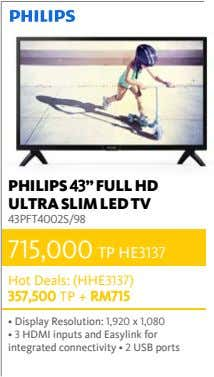 "PHILIPS 43"" FULL HD ULTRA SLIM LED TV 43PFT4002S/98 715,000 TP HE3137 Hot Deals: (HHE3137)"