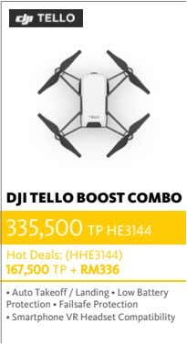 DJI TELLO BOOST COMBO 335,500 TP HE3144 Hot Deals: (HHE3144) 167,500 TP + RM336 •