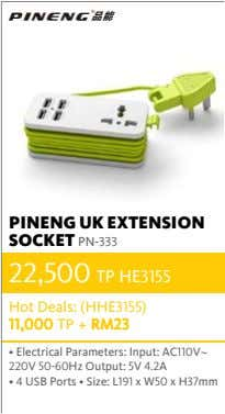 PINENG UK EXTENSION SOCKET PN-333 22,500 TP HE3155 Hot Deals: (HHE3155) 11,000 TP + RM23