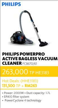 PHILIPS POWERPRO ACTIVE BAGLESS VACUUM CLEANER FC8670/61 263,000 TP HE3183 Hot Deals: (HHE3183) 131,500 TP