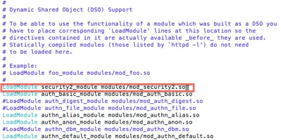 : LoadModule security2_module modules/mod_security2.so Nous installons maintenant la commande git pour pouvoir