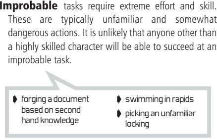 Improbable tasks require extreme effort and skill. These are typically unfamiliar and somewhat dangerous actions.