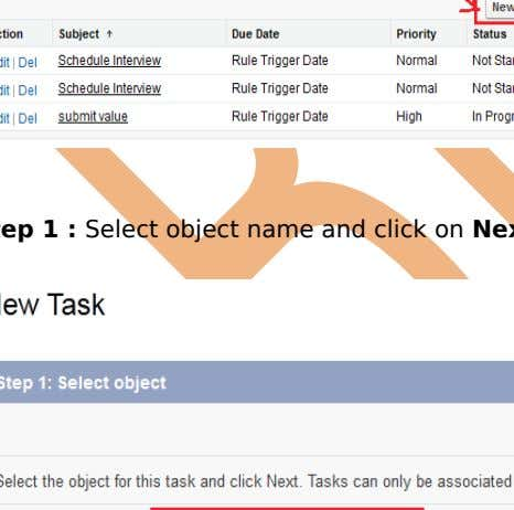 & Approval > task , Click on New Task button. Step 1 : Select object name