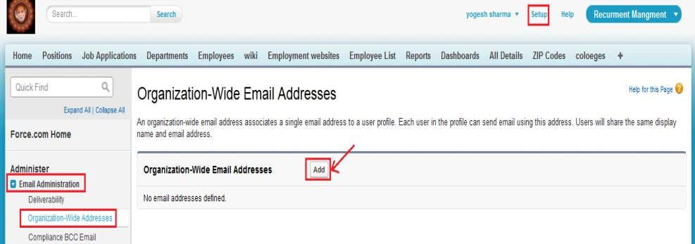 Addresses , click on Add button . you can see below. After that click on Add