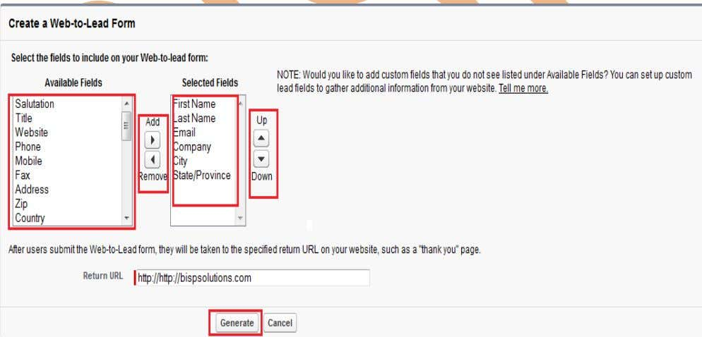 enter Return URL name then click on Generate button. www.bispsolutions.com Page 35 www.bisptrainigs.com