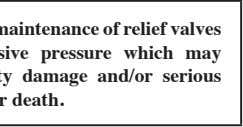 Improper use or maintenance of relief valves can cause excessive pressure which may result in