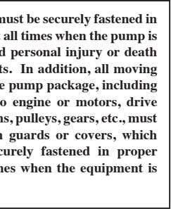 All pump covers must be securely fastened in proper position at all times when the