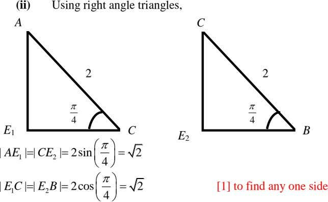 (ii) Using right angle triangles, A (iii) C 2 2   4 4 E