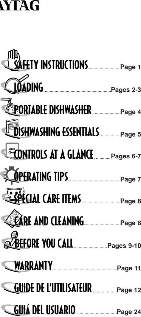 SAFETY INSTRUCTIONS LOADING Page 1 Pages 2-3 PORTABLE DISHWASHER Page 4 DISHWASHING ESSENTIALS CONTROLS AT