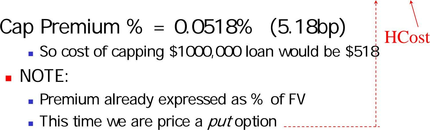 Cap Premium % = 0.0518% (5.18bp) HCost So cost of capping $1000,000 loan would be