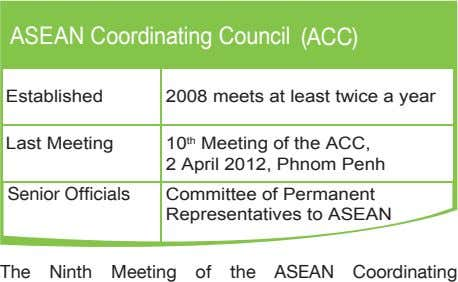 ASEAN Coordinating Council (ACC) Established 2008 meets at least twice a year Last Meeting 10
