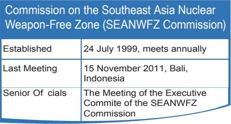 Commission on the Southeast Asia Nuclear Weapon-Free Zone (SEANWFZ Commission) Established 24 July 1999, meets