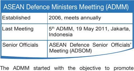 Established 2006, meets annually Last Meeting 5 th ADMM, 19 May 2011, Jakarta, Indonesia Senior