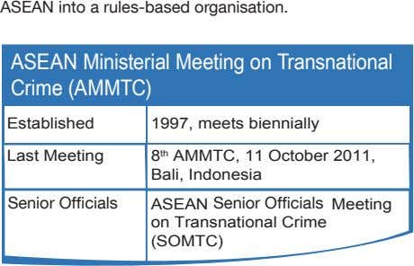 ASEAN into a rules-based organisation. ASEAN Ministerial Meeting on Transnational Crime (AMMTC) Established 1997,