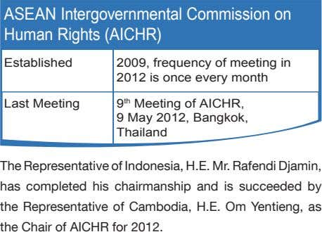 ASEAN Intergovernmental Commission on Human Rights (AICHR) Established 2009, frequency of meeting in 2012 is