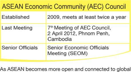 ASEAN Economic Community (AEC) Council Established 2009, meets at least twice a year Last Meeting