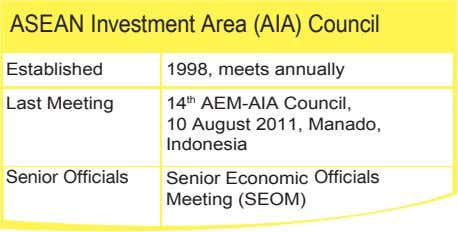 ASEAN Investment Area (AIA) Council Established 1998, meets annually Last Meeting 14 th AEM-AIA Council,