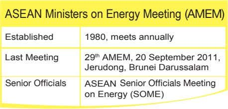 ASEAN Ministers on Energy Meeting (AMEM) Established 1980, meets annually Last Meeting 29 th AMEM,