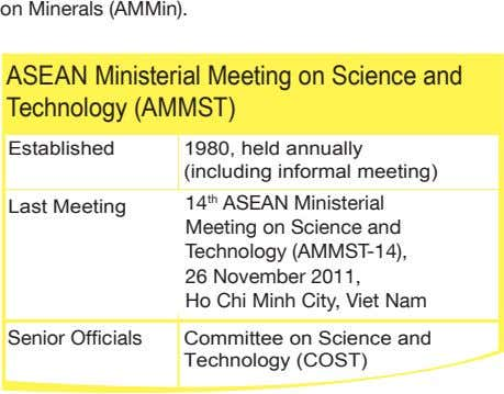 on Minerals (AMMin). ASEAN Ministerial Meeting on Science and Technology (AMMST) Established 1980, held annually