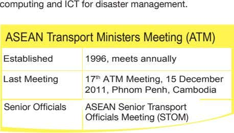 computing and ICT for disaster management. ASEAN Transport Ministers Meeting (ATM) Established 1996, meets annually