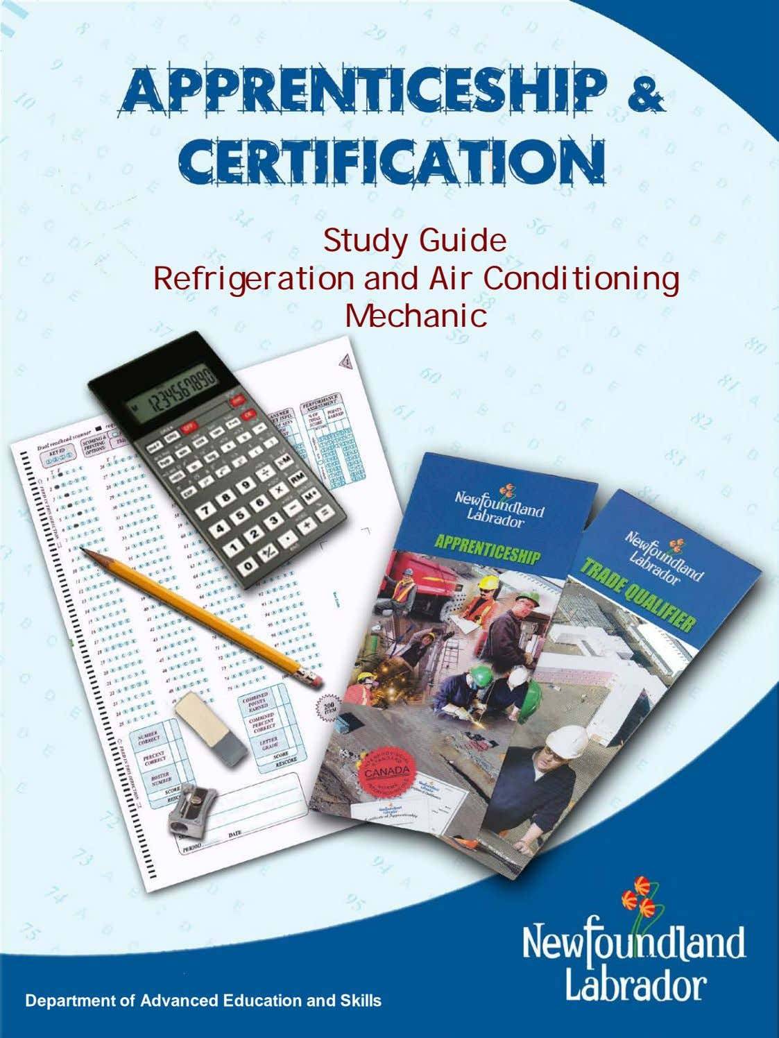 Study Guide Refrigeration and Air Conditioning Mechanic Department of Advanced Education and Skills