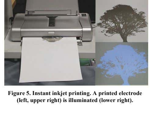 Figure 5. Instant inkjet printing. A printed electrode (left, upper right) is illuminated (lower right).