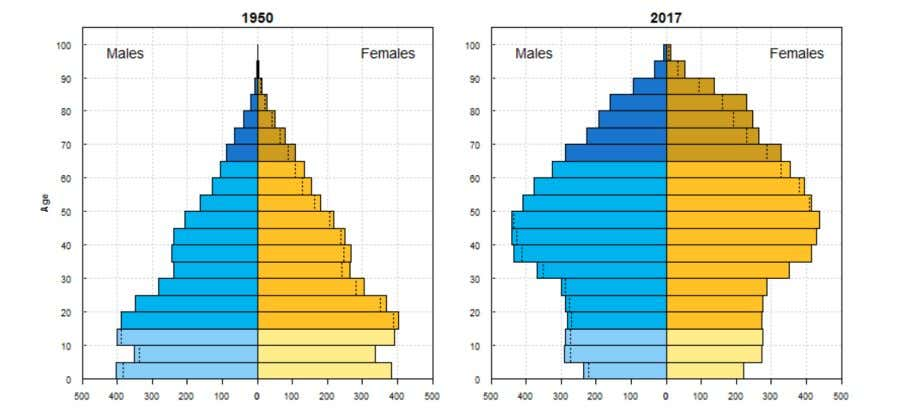 or millions and represent the population in each age group. The pyramid represents ratio of males