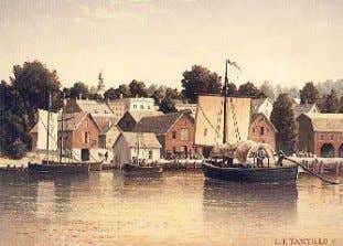 through the 18th century. Durham Boats were developed and Schenectady Harbor, 1814. Painting by Len Tantillio,