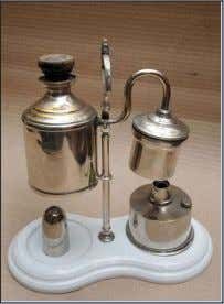 8 p.m. (Open all days) A glass, iron and brass kerosene lamp Coffee Percolator Miniature mast