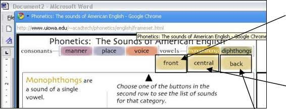 screen: It will ask you to chose between three categories: front monophthongs are pronounced in the