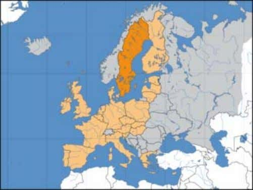 km long and approximately 500 km wide at its widest point. Location of Sweden (dark orange)