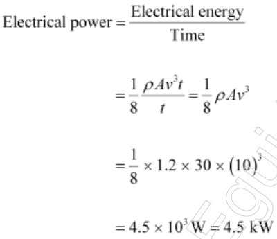 Electric energy produced = 25% of the wind energy 14: (a) It is clear from the