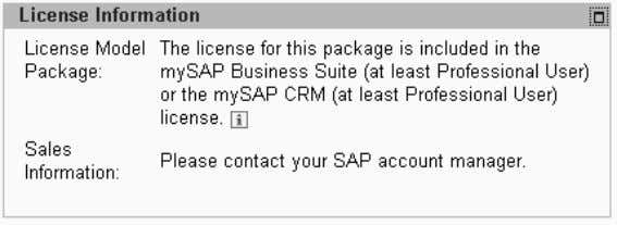 CRM 4.0 60.2, Package Information – License Information: Example: Business Package for SAP CRM 4.0 60.2,