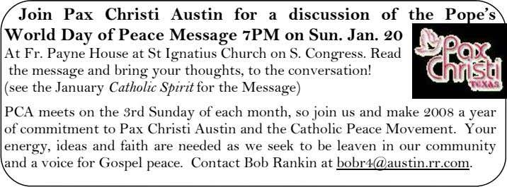 Join Pax Christi Austin for a discussion of the Pope's World Day of Peace Message