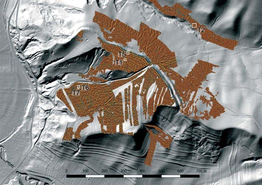 North-western part of the settlement (image by the autors) Fig. 3 Magnetogram superimposed on a LiDAR