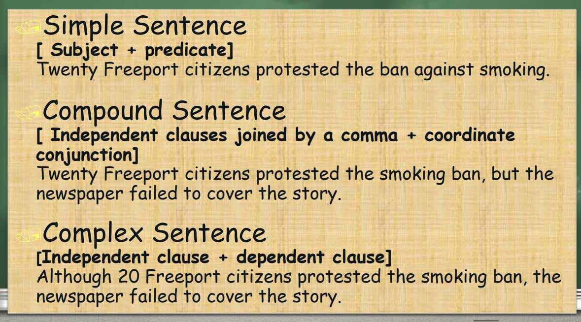 Simple Sentence [ Subject + predicate] Twenty Freeport citizens protested the ban against smoking. Compound Sentence