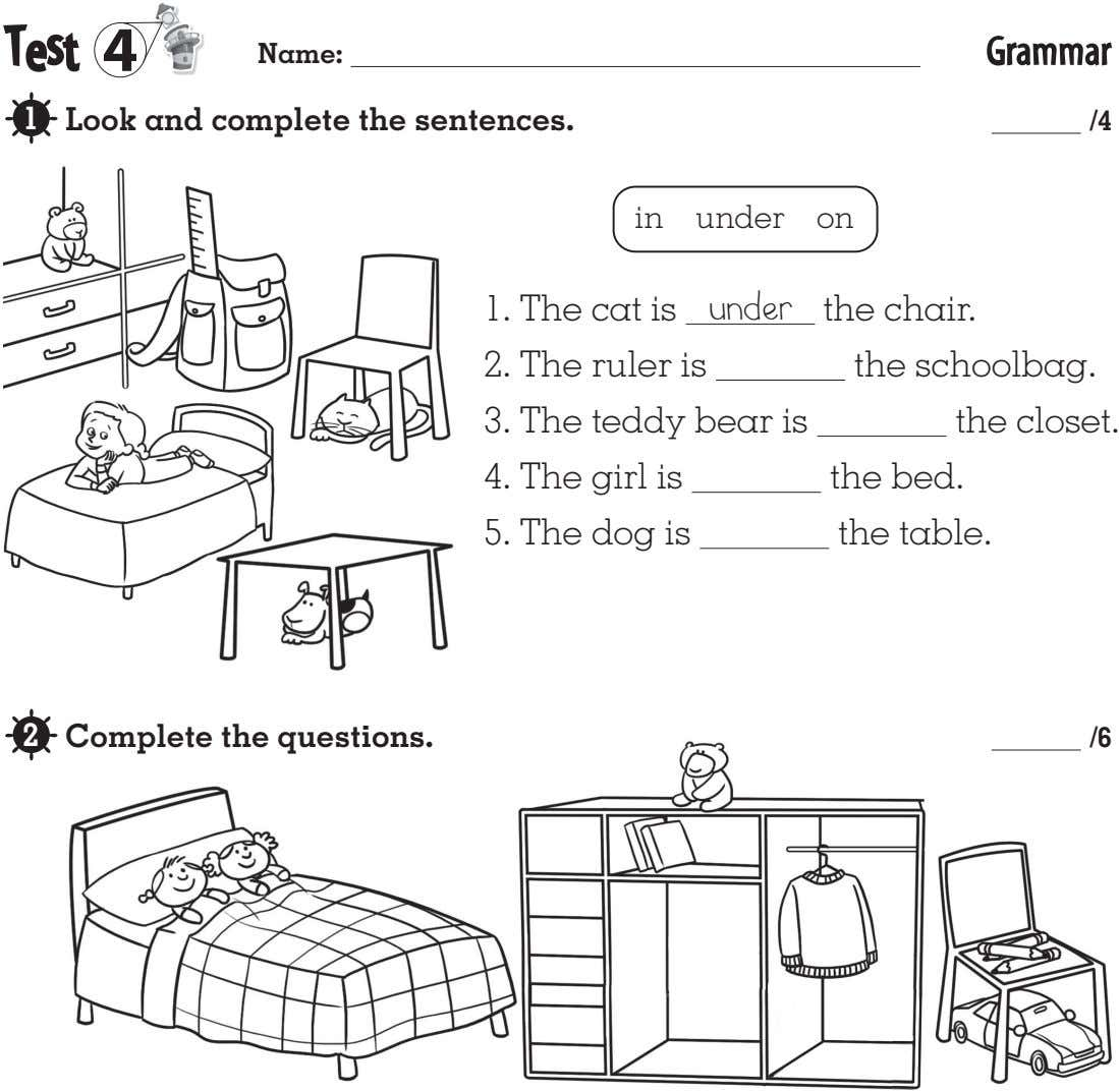 T e s t 4 Name: Grammar 1 Look and complete the sentences. /4 in