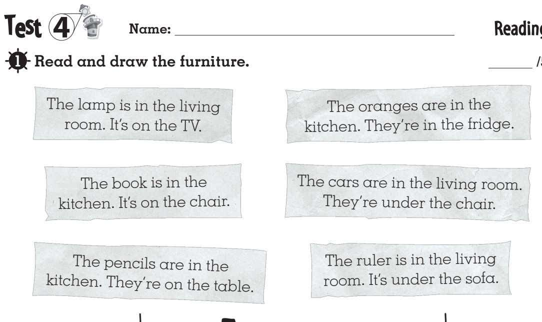 4 Name: Read and draw the furniture. The lamp is in the living room. It's