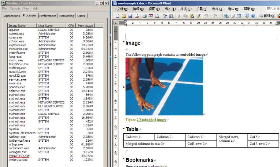 the support from GSView32. 6.1.4. Microsoft Word Document Figure 6 A word document is opened in