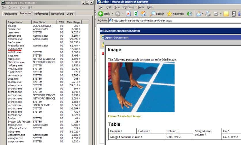 Figure 7 a word document is opened in the web based editor. Result: The images