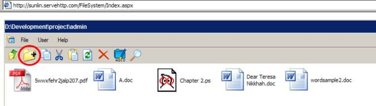 as an example. Firstly, the create folder button is clicked. Figure 14 the location where the