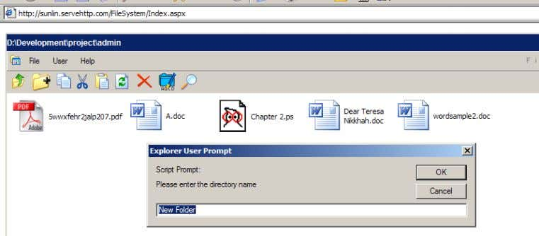 Figure 15 the folder name is supplied Thirdly, when the OK button is clicked, a