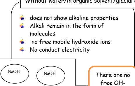 does not show alkaline properties Alkali remain in the form of - . molecules no