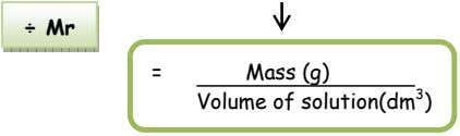 ÷ Mr = Mass (g) Volume of solution(dm 3 )