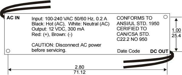 AC AC IN IN Input: 100-240 VAC 50/60 Hz, 0.2 A Black: Hot (AC), White: