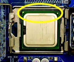lever located on the CPU socket to the upright position. Fig. 3 Notice the small gold